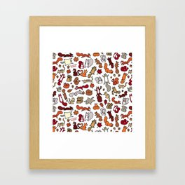 Squirrels in Fall Doodle Framed Art Print