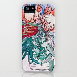 Painterly Vase of Proteas, Wattles, Banksias and Eucayptus on Blue iPhone Case