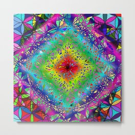 Colorful abstract leaves and crystals Metal Print