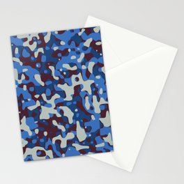 Blue & Burgandy Camo Pattern Stationery Cards