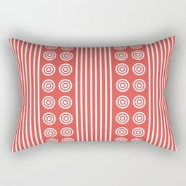 Geometric White on Sunny Summer Hot Red Vertical Stripes & Circles Rectangular Pillow