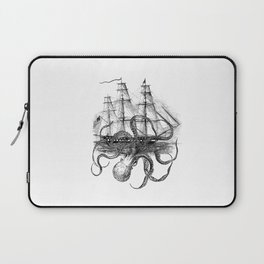 Octopus Attacks Ship on White Background Laptop Sleeve