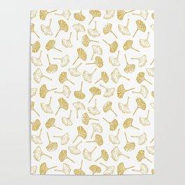 Ginkgo Biloba linocut pattern GLITTER GOLD Poster