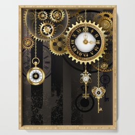Antique Clock with Keys ( Steampunk ) Serving Tray