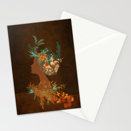 Mujer floral Stationery Cards