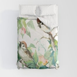 Sparrows And Apple Blossom, bird art Sage, teal green Vintage style floral bird art Comforters