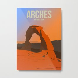 Arches National Park - Travel Poster -  Minimalist Art Print Metal Print