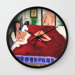 In the Bedroom: Acrylic Painting of a nude with no faces Wall Clock