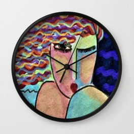 Portrait of a Wild Woman Abstract Digital Painting Wall Clock