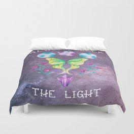 Always Seek the Light - Luna Moth Moon Crystals Boho Watercolor Duvet Cover