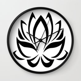 Black and White Lotus Flower Wall Clock