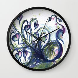 Pink Hearted Peacock watercolor by CheyAnne Sexton Wall Clock