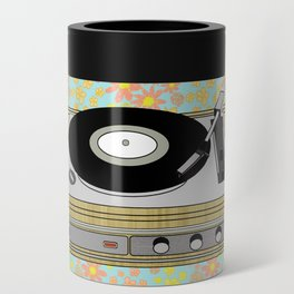 Retro Vibes Record Player Design in Yellow Can Cooler