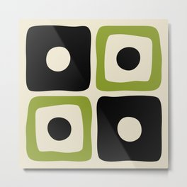 Mid Century Modern Square Dot Pattern 592 Black and Chartreuse Metal Print