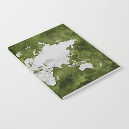 Moss green watercolor and grey world map with outlined countries Notebook