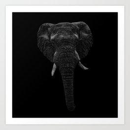 Elephant. Scribble art. Reverse Art Print