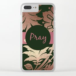 Black and Rose Gold  Floral with Mauve Ribbon PRAY Clear iPhone Case