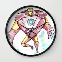 iron maiden Wall Clocks featuring Iron by Crooked Octopus