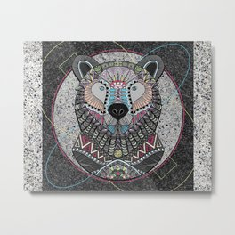 Neon Tribal Bear Metal Print
