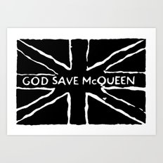 God Save McQueen Black and White Art Print