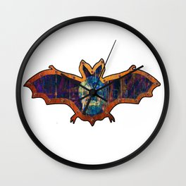 Purple And Blue Skull Halloween Bat Decoration In A Retro Style Wall Clock