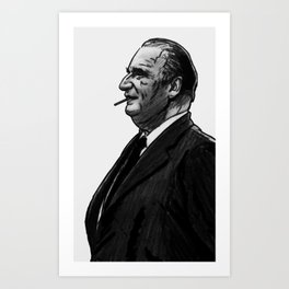 Portrait of french president Georges Pompidou Art Print