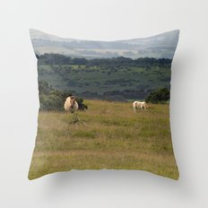 Wild Ponys in Cornwall Throw Pillow