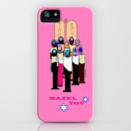 A Bat Mitzvah Design with a  Pink Background iPhone Case