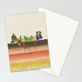 Earth soil layers vegetables garden cute educational illustration kitchen decor print Stationery Cards