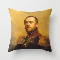 replaceface Throw Pillows featuring Simon Pegg - replaceface by replaceface