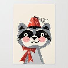 Red fez raccoon Canvas Print
