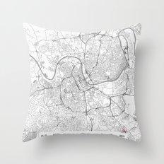 Nashville Map Line Throw Pillow