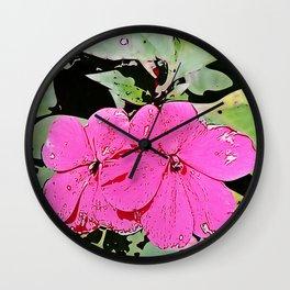 pink Impatiens - flower Wall Clock