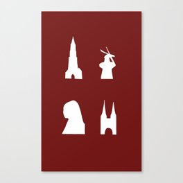 Delft silhouette on red Canvas Print