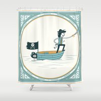 leon Shower Curtains featuring Fran Ponce De Leon by Chris Blatt