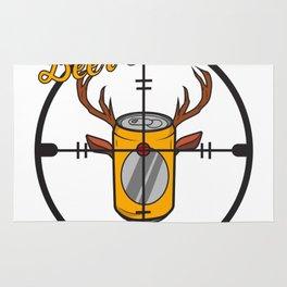 Beer can hunter crosshair drink alcohol deer antler humor joke gift Rug