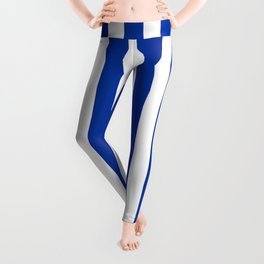 Princess Blue Beach Hut Vertical Stripe Fall Fashion Leggings