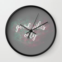 Good Vibes Only Mint Pink Wall Clock