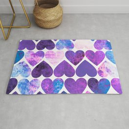 Mod Purple & Blue Grungy Hearts Design Rug
