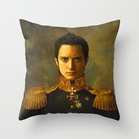 replaceface Throw Pillows featuring Elijah Wood - replaceface by replaceface