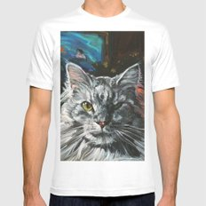 Two Faces of the Main Coon Cat White MEDIUM Mens Fitted Tee