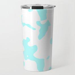 Large Spots - White and Celeste Cyan Travel Mug