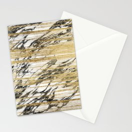 Chic Gold Brushstrokes on Black White Marble Stationery Cards