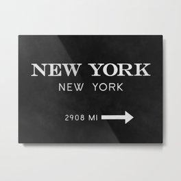 black watercolor new york new york Metal Print
