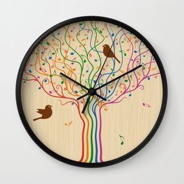 Retro Style Musical Notes Tree Wall Clock