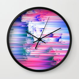 Only 90s Kids - Pastel Glitchy Abstract Pixel Art Wall Clock