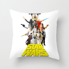 Star War Action Figures Poster - First 12 - Vintage Texture Throw Pillow