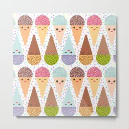 Kawaii mint raspberry chocolate Ice cream waffle cone with pink cheeks and winking eyes Metal Print