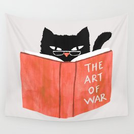 Cat reading book Wall Tapestry