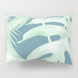 Tropical Leaves Luxe Ocean Teal Blue Pastel Green Pillow Sham